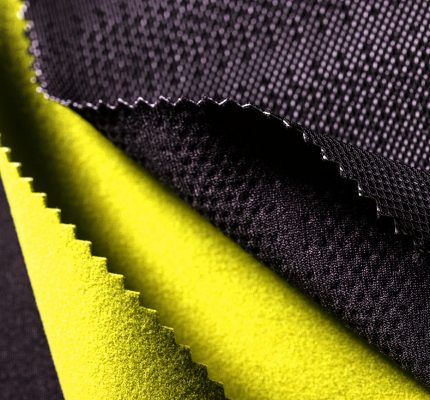 Perforated black and volt green material